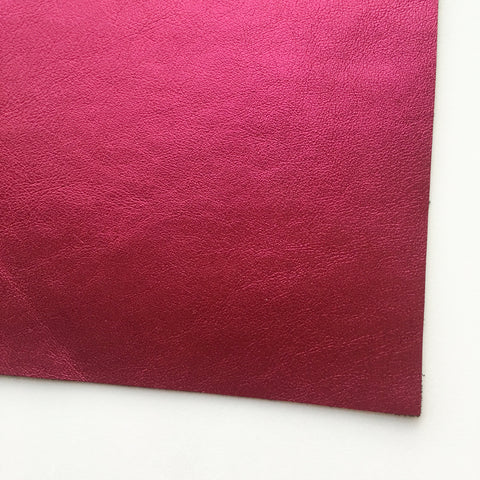 Metallic Foil Magenta Smooth Faux Leather