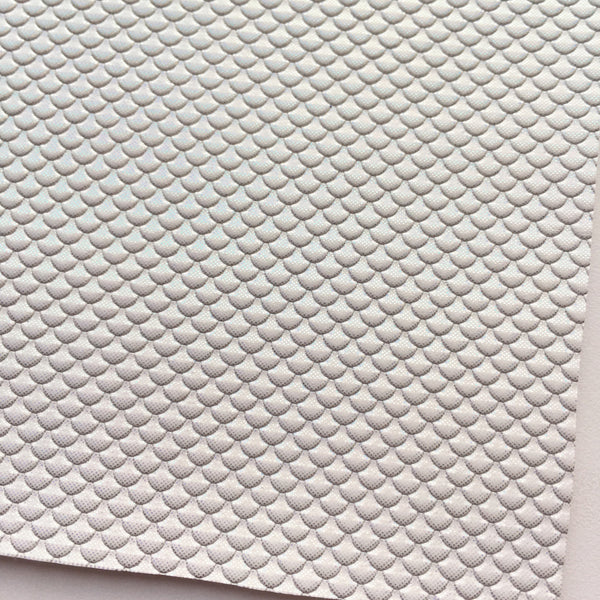 Iridescent White Metallic Mermaid Scale Faux Leather