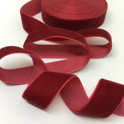 Crimson Velvet Ribbon - 3/4 inch