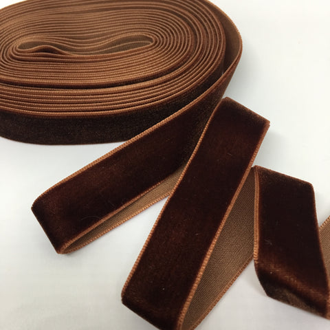 Chocolate Velvet Ribbon - 3/4 inch