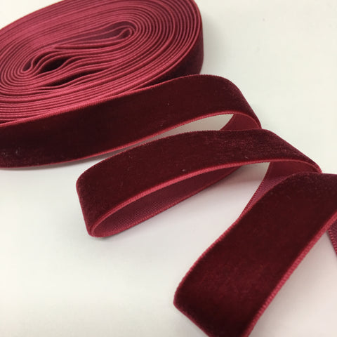 Cranberry Velvet Ribbon - 3/4 inch