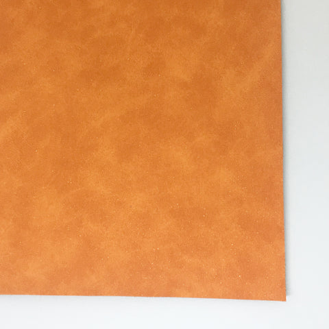 Orange Glitter Suede Vegan Faux Leather
