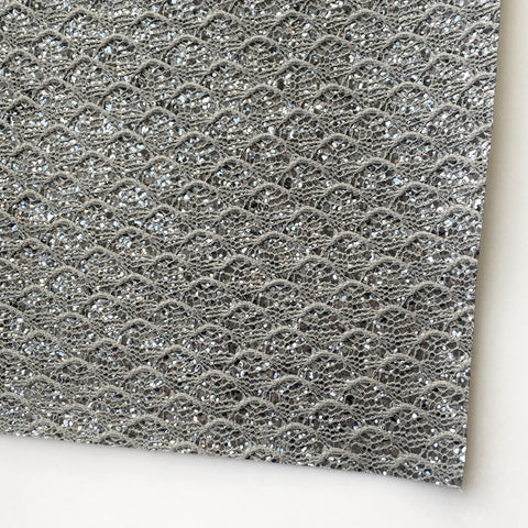 Gray Lace Specialty Chunky Glitter Fabric Sheet