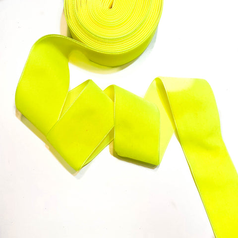 Neon Yellow Velvet Ribbon - 1 and a Half Inch