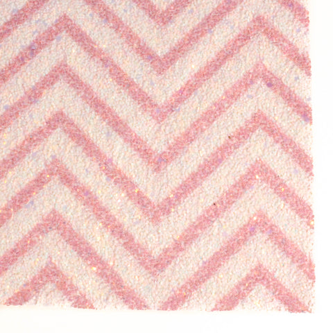 Pink and White Chevron Printed Premium Chunky Glitter Fabric Sheet