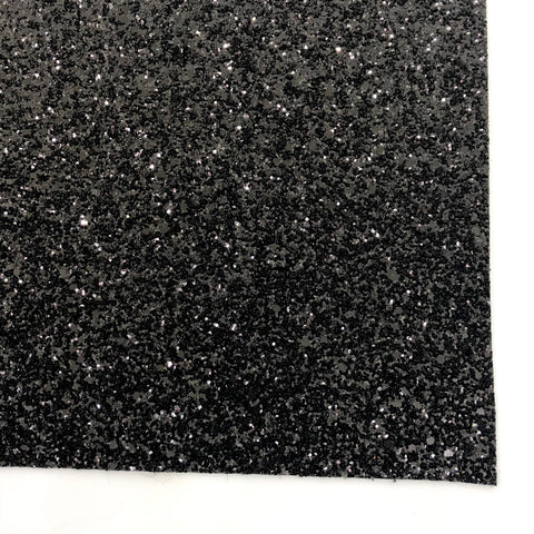 Black Specialty Glitter Fabric Sheet -SPANDEX BACK
