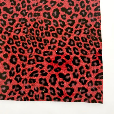 Leopard & Red Glitter Patent Vegan Faux Leather