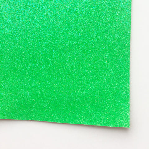 Neon Green Fine Glitter Fabric Sheet