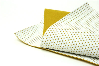 White Glitter with Mustard Dot 100% Wool Felt - 9.5x12""