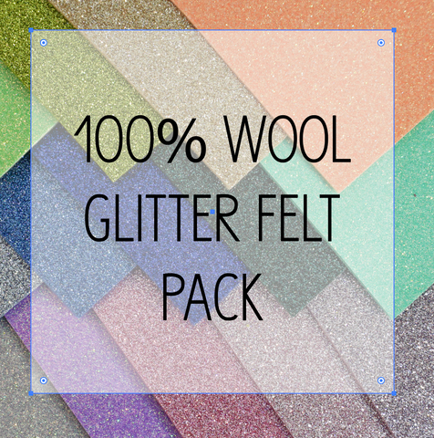 "100% Glitter Wool Felt Pack - (14) 9x12.5"" Sheets"