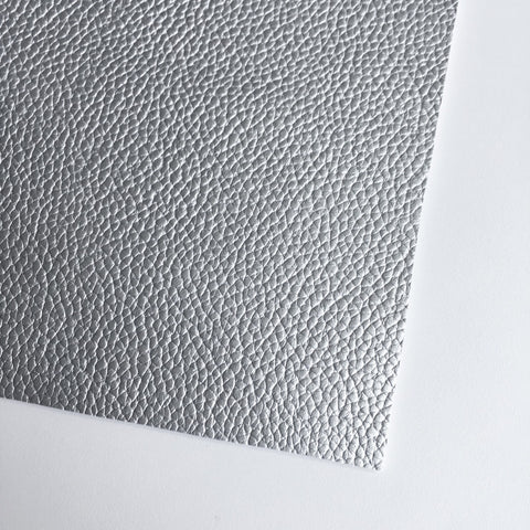 Silver Textured Faux Leather