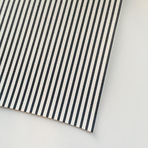 White & Black Stripe Faux Leather