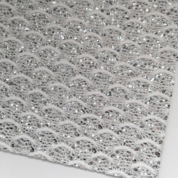 White Lace Specialty Chunky Glitter Fabric Sheet
