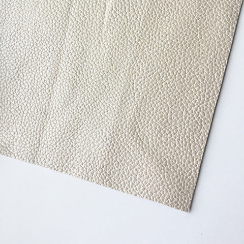 Ivory Metallic Textured Vegan Faux Leather