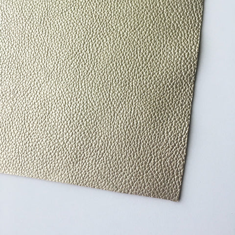 Pale Gold Metallic Textured Vegan Faux Leather