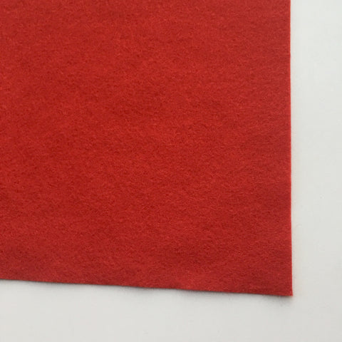 Bright Red Wool Blend Felt