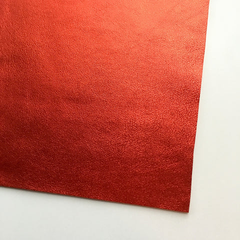Red Metallic Foil Smooth Faux Leather