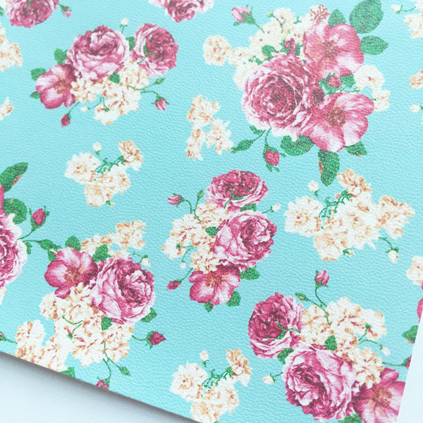 Light Blue Floral Faux Leather