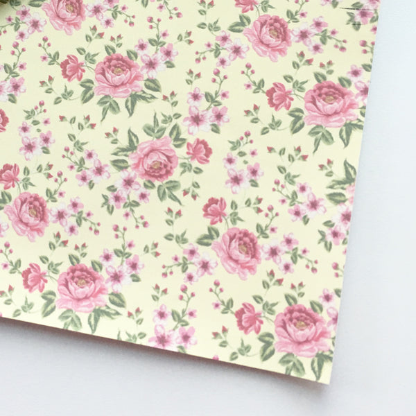 Pale Yellow and Pink Matte Floral Faux Leather