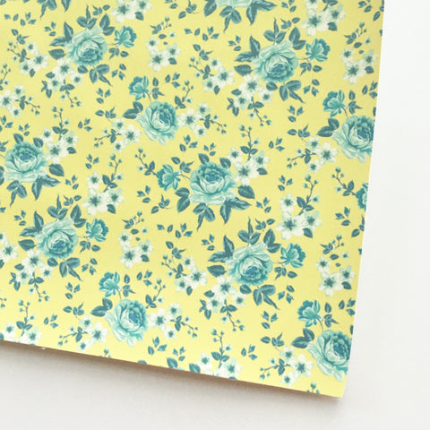 Chartreuse and Teal Matte Floral Faux Leather