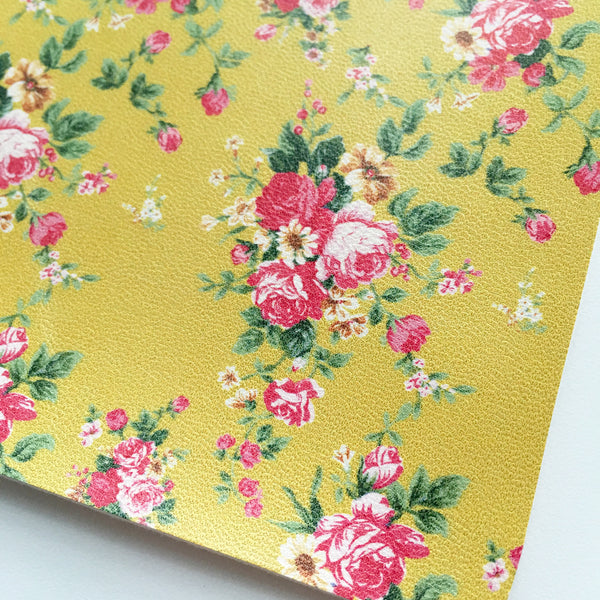 Mustard Floral Faux Leather