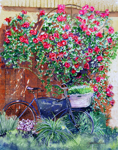 Bike at Bistro Jeanty Original Watercolor SOLD