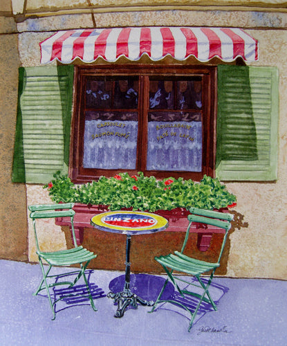 Bistro Jeanty Table for Two Original Watercolor SOLD