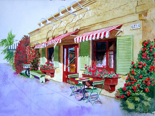 Bistro Jeanty in Spring Original Watercolor SOLD