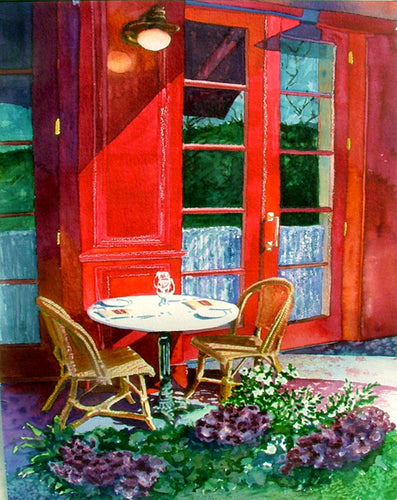 Bouchon Patio Original Watercolor SOLD