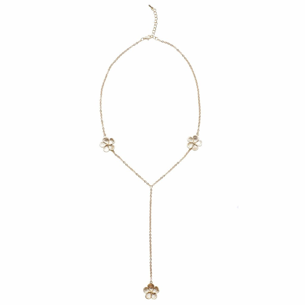 "Matte gold plated cherry blossom y-shaped necklace - ""Lillian"""
