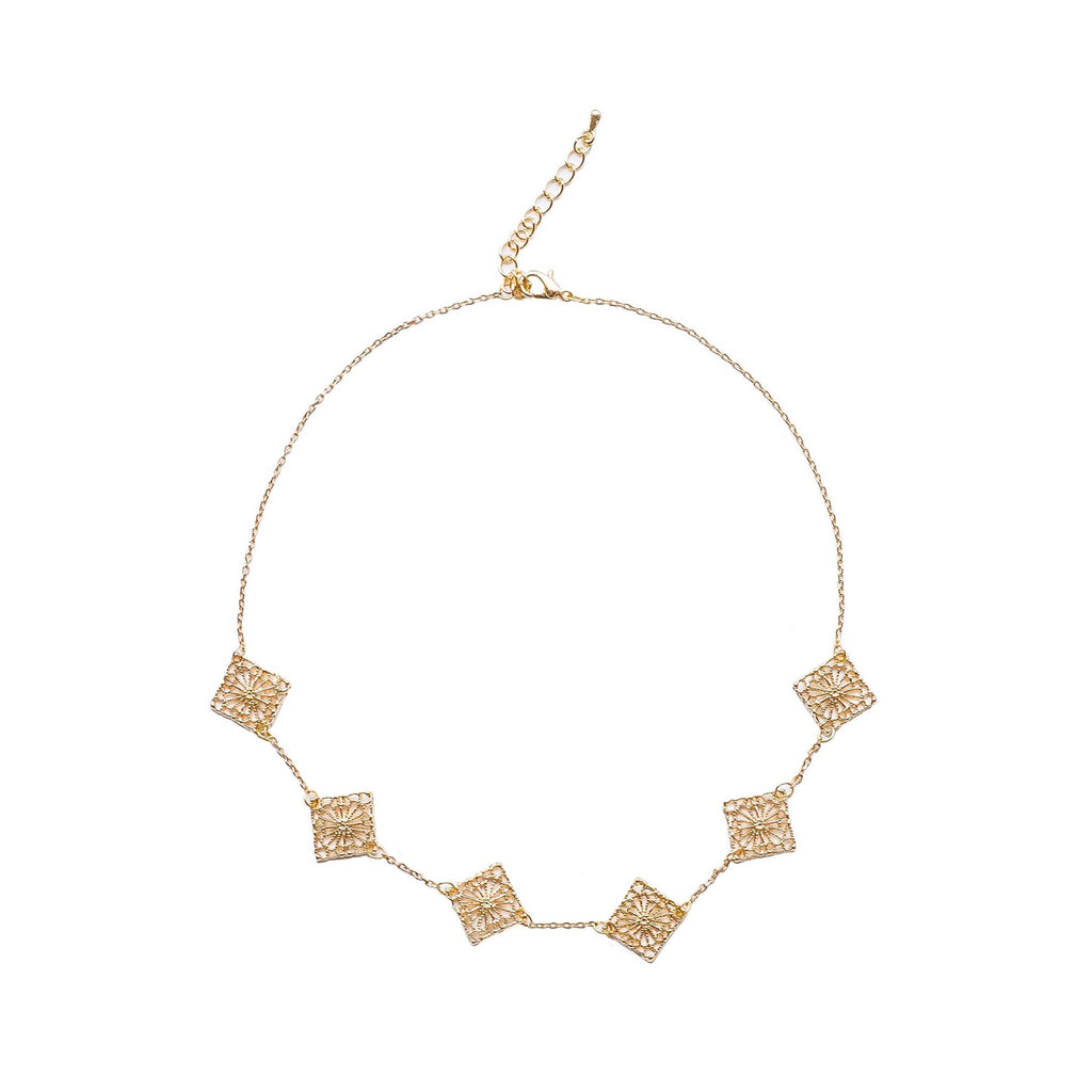 "Gold plated filagree diamond charm choker - ""Lucy in the Sky"""