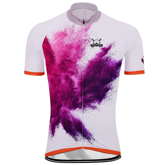 NEW Men's White & Purple Splash of Fast Cycling Jersey