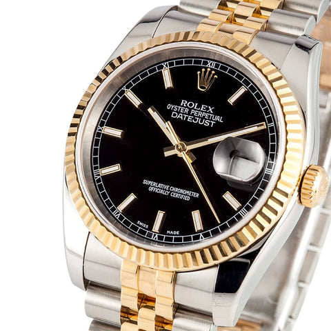 Rolex DateJust Black Stick Dial 18k Gold Two-Tone Mens Watch 41mm