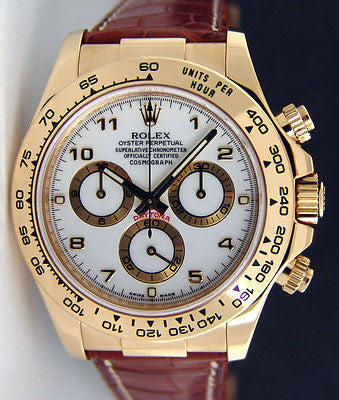 Replica Rolex Daytona 18k Gold White Dial Men's Wristwatch