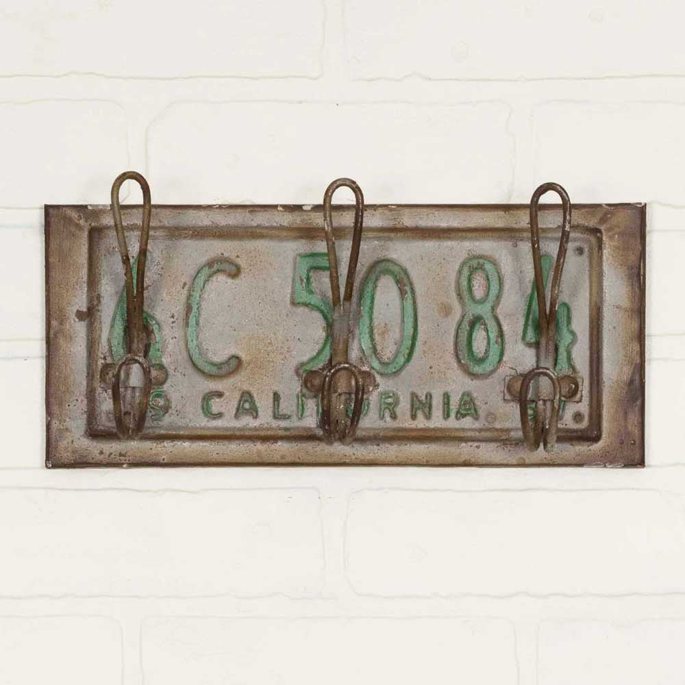 Rustic CA License Plate Hook (set of two)