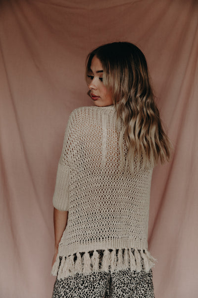 Willow Tassel Knit Jumper 'Latte'