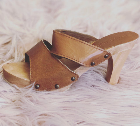 Bridgette Wooden Leather Heels