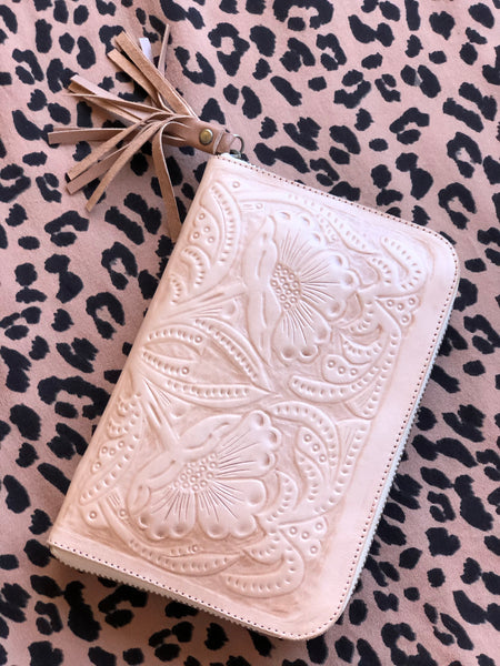 Waterlily Embossed Leather Wallet