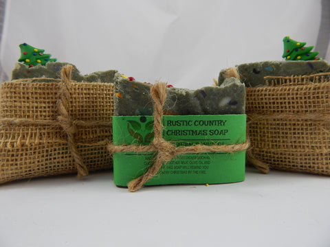 Rustic Country Christmas Soap in Burlap Christmas Tree Wrapping - TRASCENTUALS