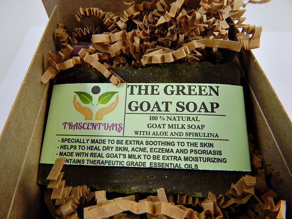 Aloe Vera Soap With Goat's Milk and Spirulina Extra Moisturizing for Face or Body Washing - TRASCENTUALS