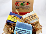 Outdoors Soap Gift Set 3 All Natural Soaps in 1 Gift-able Box W/ Ribbon and Bow For Outdoors-men - TRASCENTUALS