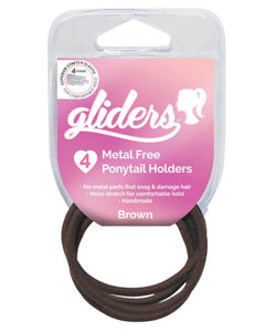 GLIDERS HAIR TIES METAL FREE BROWN 6PK