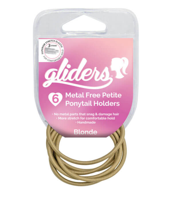 GLIDERS HAIR TIES METAL FREE BLONDE 6PK