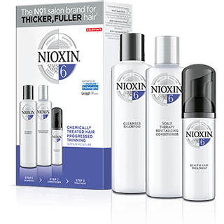 NIOXIN SYSTEM 6 - 3 PIECE KIT FOR NOTICEABLY THINNING CHEMICALLY TREATED HAIR