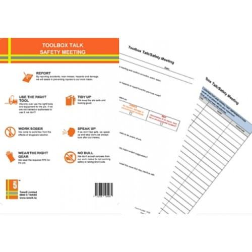 tool box talks template - workplace health and safety meeting toolbox talk pad ohs