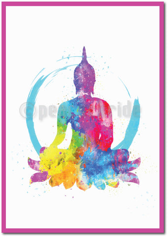 """Lord Buddha"" Splash Art Wall Poster/Frame"