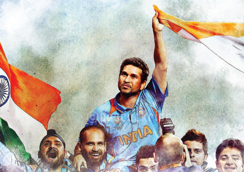 Sachin Tendulkar-World Cup Winning Moment Wall Poster/Frame