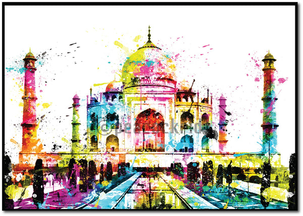 Tajmahal Splash Art Wall Poster/Frame