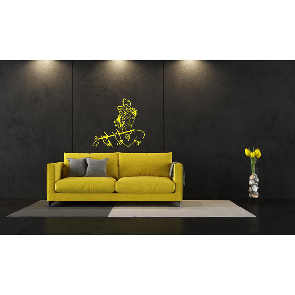 Cute Young Krishna with Flute Wall Decal