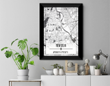 Delhi Map Wall Poster / Frame